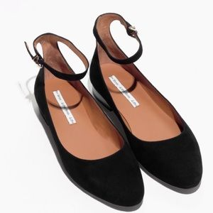 & OTHER STORIES Ankle Strap Suede Ballerina Flats